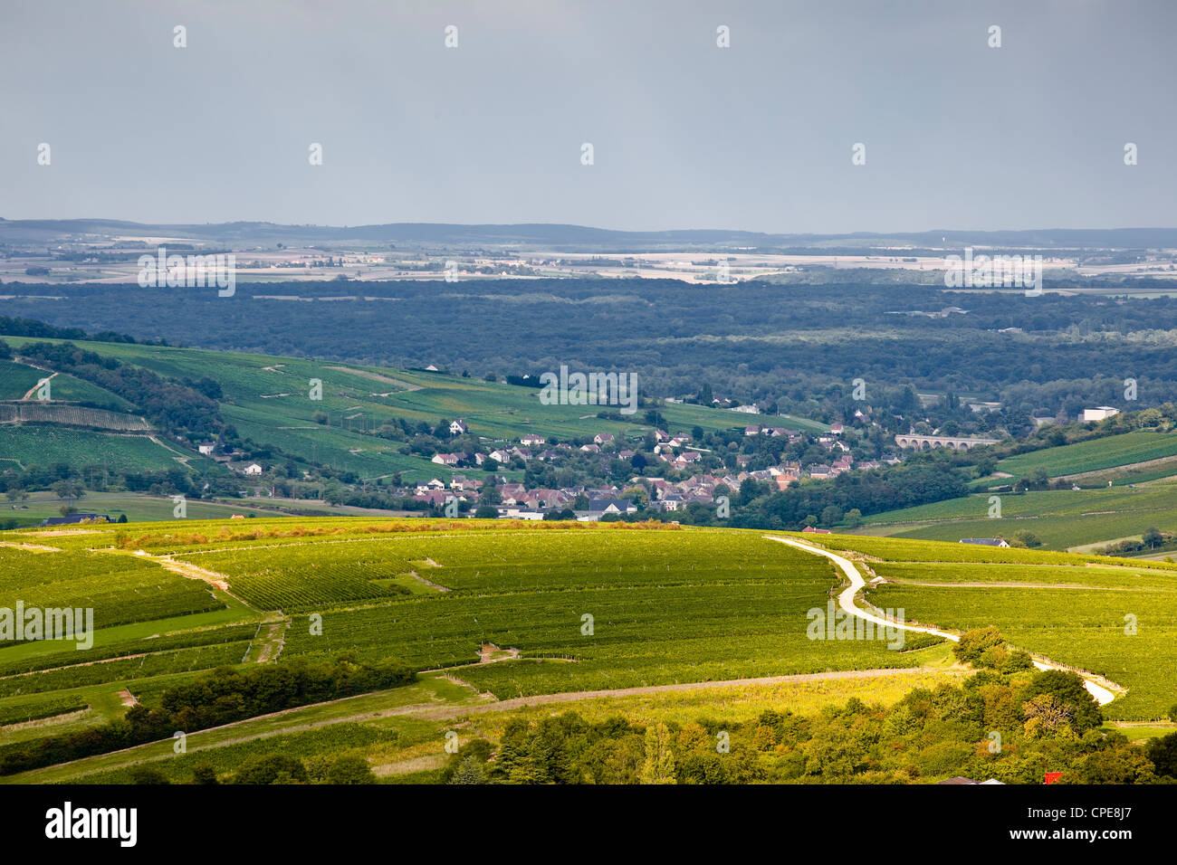 The vineyards of Sancerre under a passing storm at the end of summer, Cher, Centre, France, Europe - Stock Image