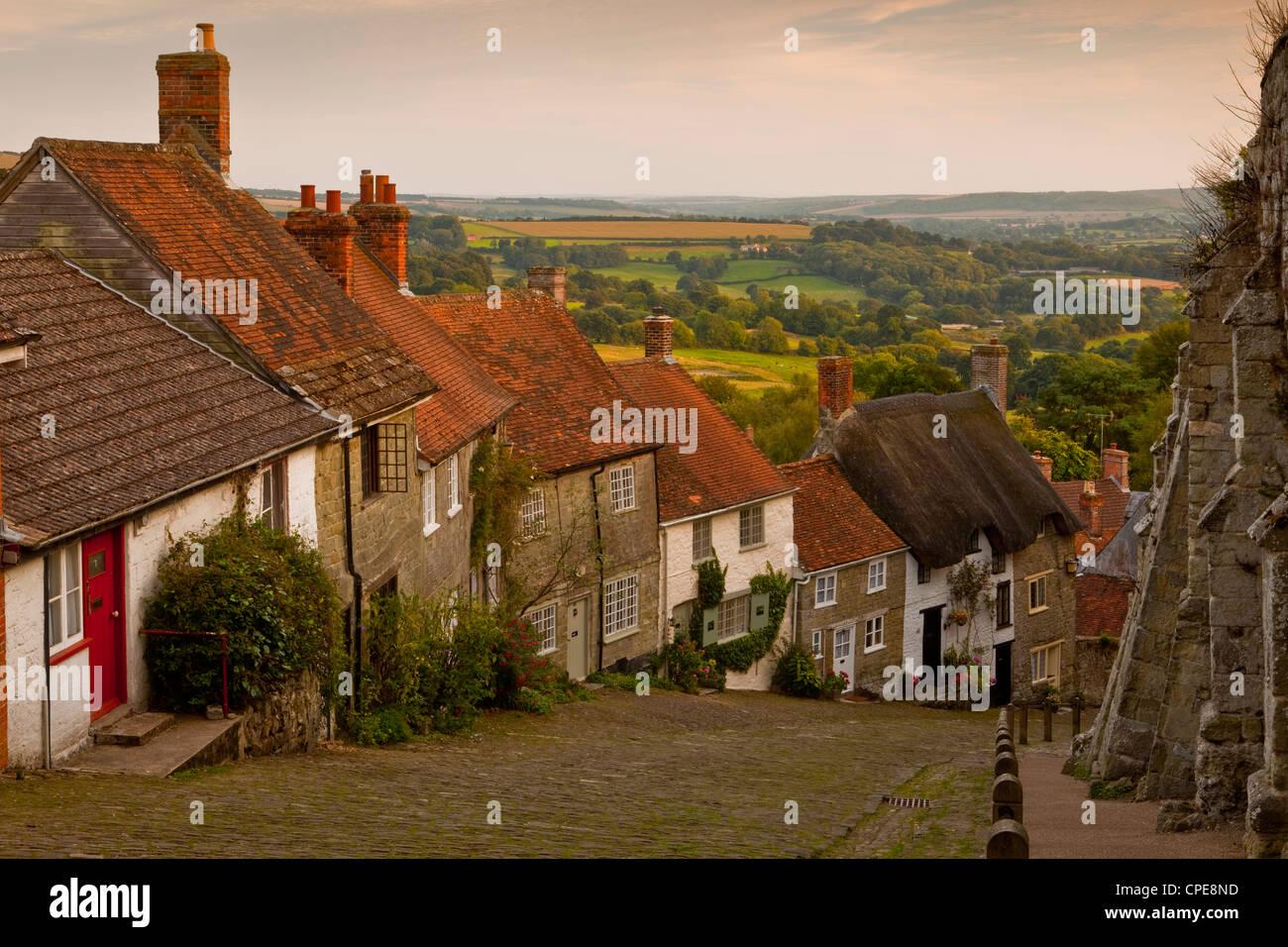 Gold Hill, Shaftesbury, Dorset, England, United Kingdom, Europe - Stock Image