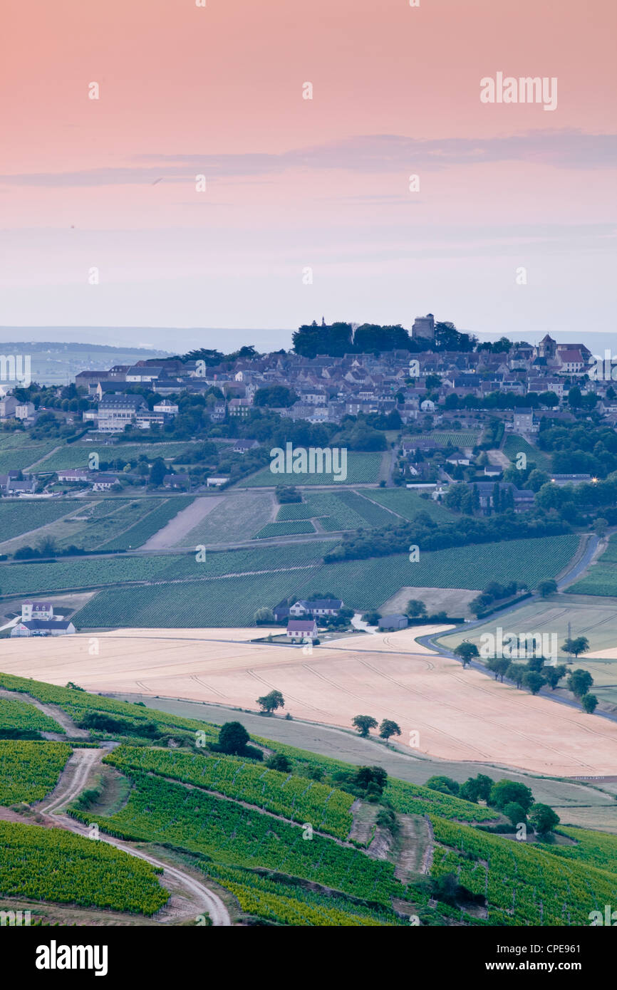 Looking across the vineyards surrounding the village of Sancerre, Cher, Loire Valley, Centre, France, Europe - Stock Image