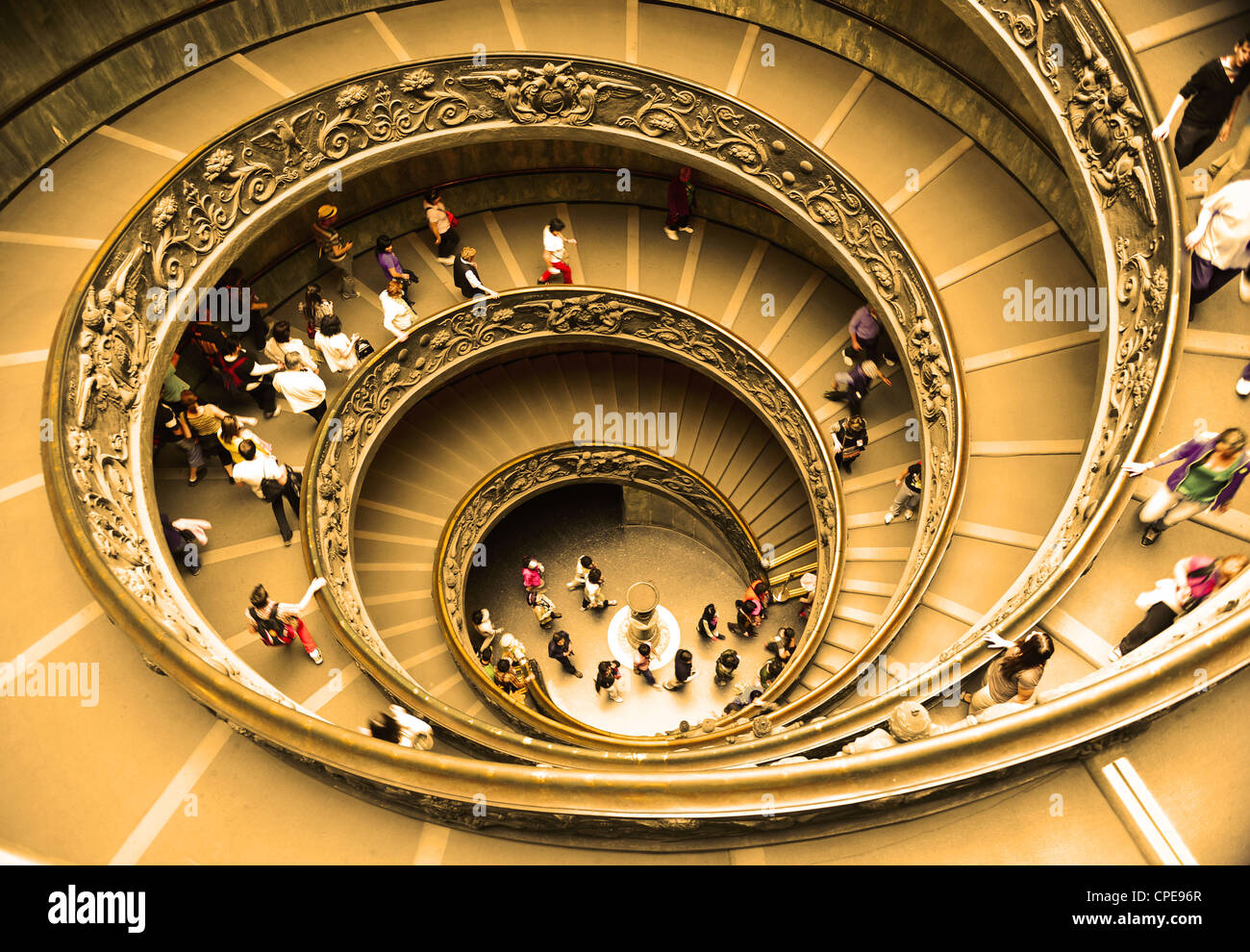 Spiral staircase at the exit in the Vatican Museums, close to St Peter's Basilica, Vatican City, Rome, Italy. Stock Photo