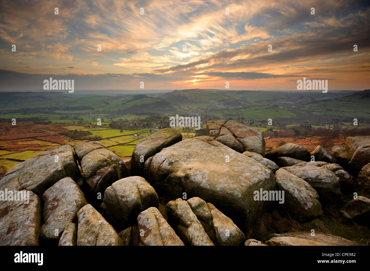 Sunset over Baslow, Curbar Edge, Peak District National Park, Derbyshire, England, United Kingdom, Europe - Stock Image