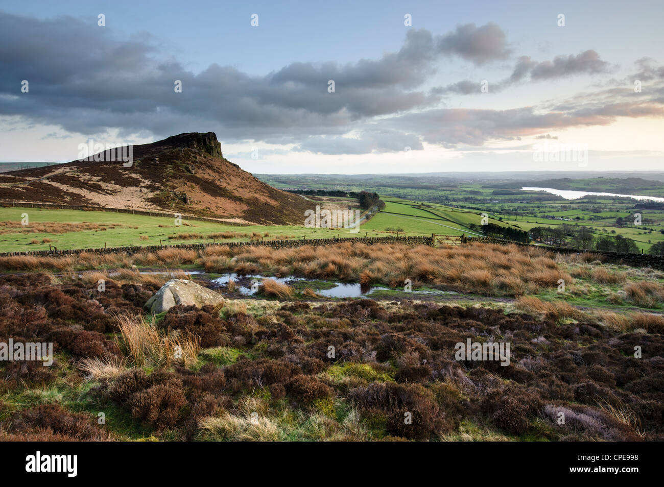 Dusk at Hen Cloud at The Roaches, Staffordshire Moorlands, Peak District National Park, England, United Kingdom, - Stock Image