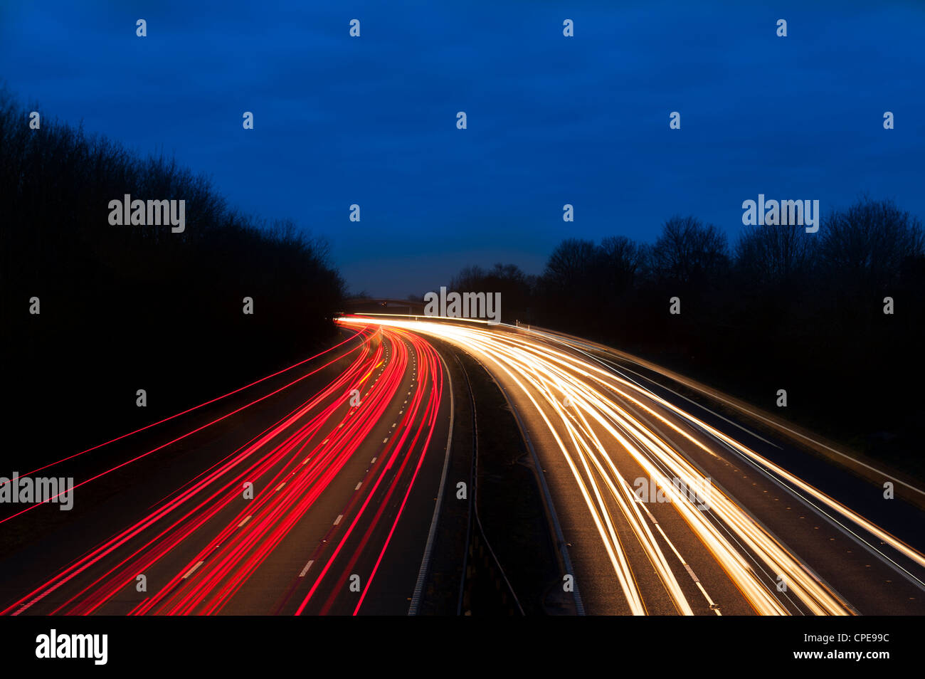 M6 Motorway at dusk near Juntion13, Staffordshire, England, United Kingdom, Europe - Stock Image