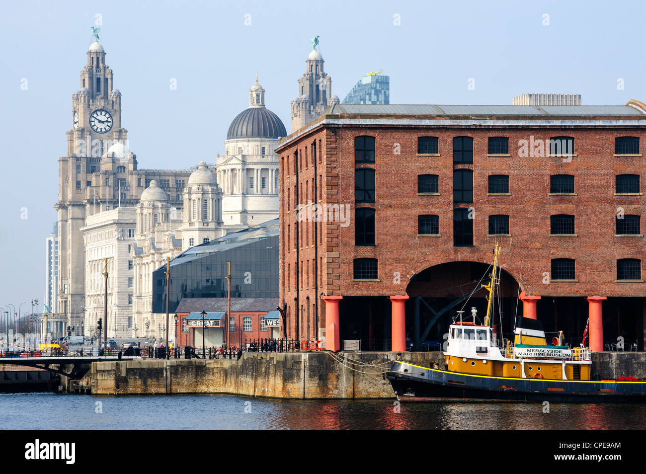 Royal Liver Building and Albert Docks, UNESCO World Heritage Site, Liverpool, Merseyside, England, United Kingdom, - Stock Image