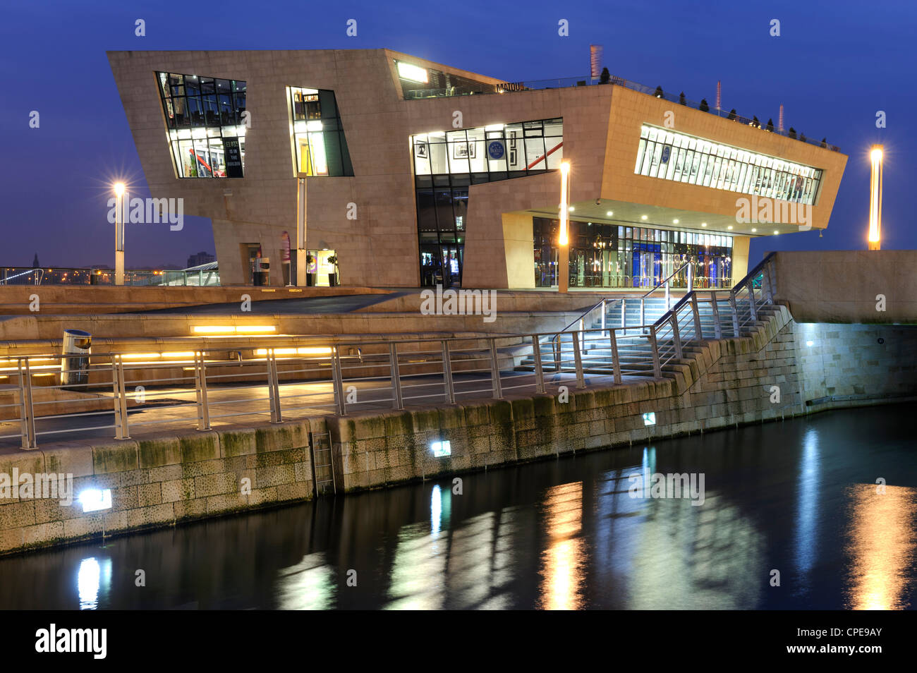 Mersey Ferries offices and Beatles Museum, Pier Head, Liverpool, Merseyside, England, United Kingdom, Europe - Stock Image