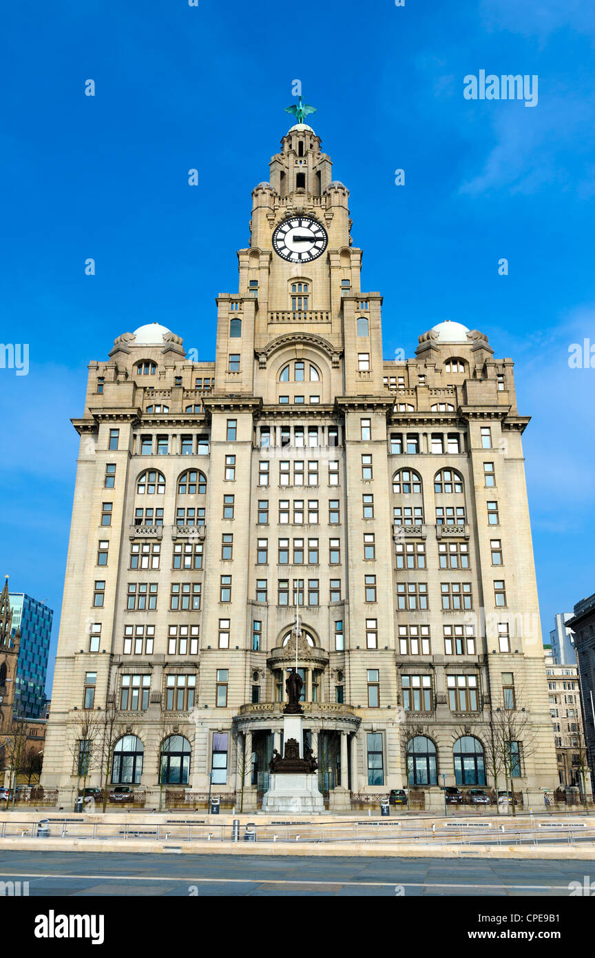 Royal Liver Building, Pier Head, Liverpool, Merseyside, England, United Kingdom, Europe - Stock Image