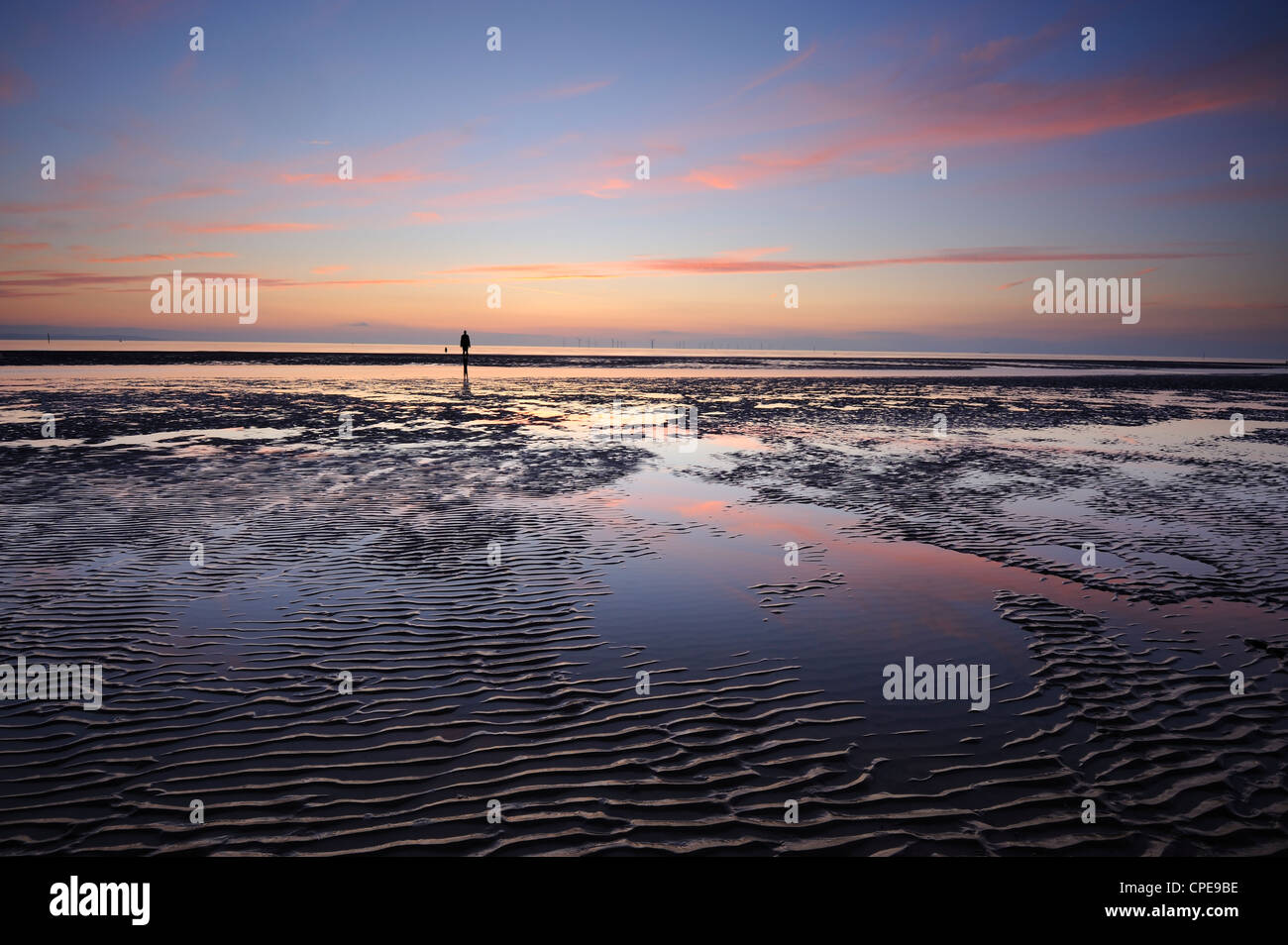 Sunset, Crosby Beach, Merseyside, England, United Kingdom, Europe - Stock Image