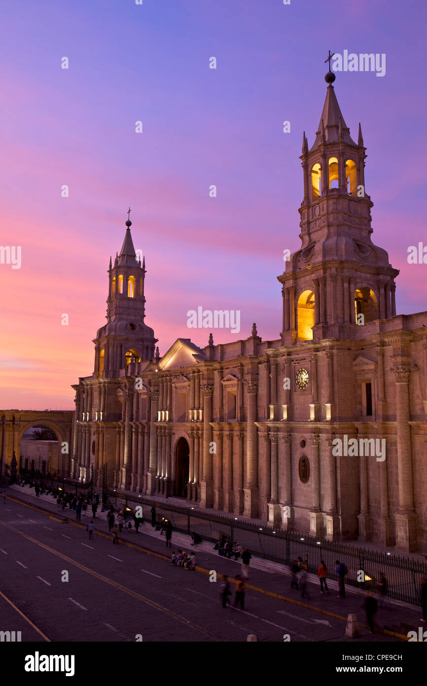 Arequipa Cathedral at sunset on Plaza de Armas, Arequipa, UNESCO World Heritage Site, Peru, South America Stock Photo