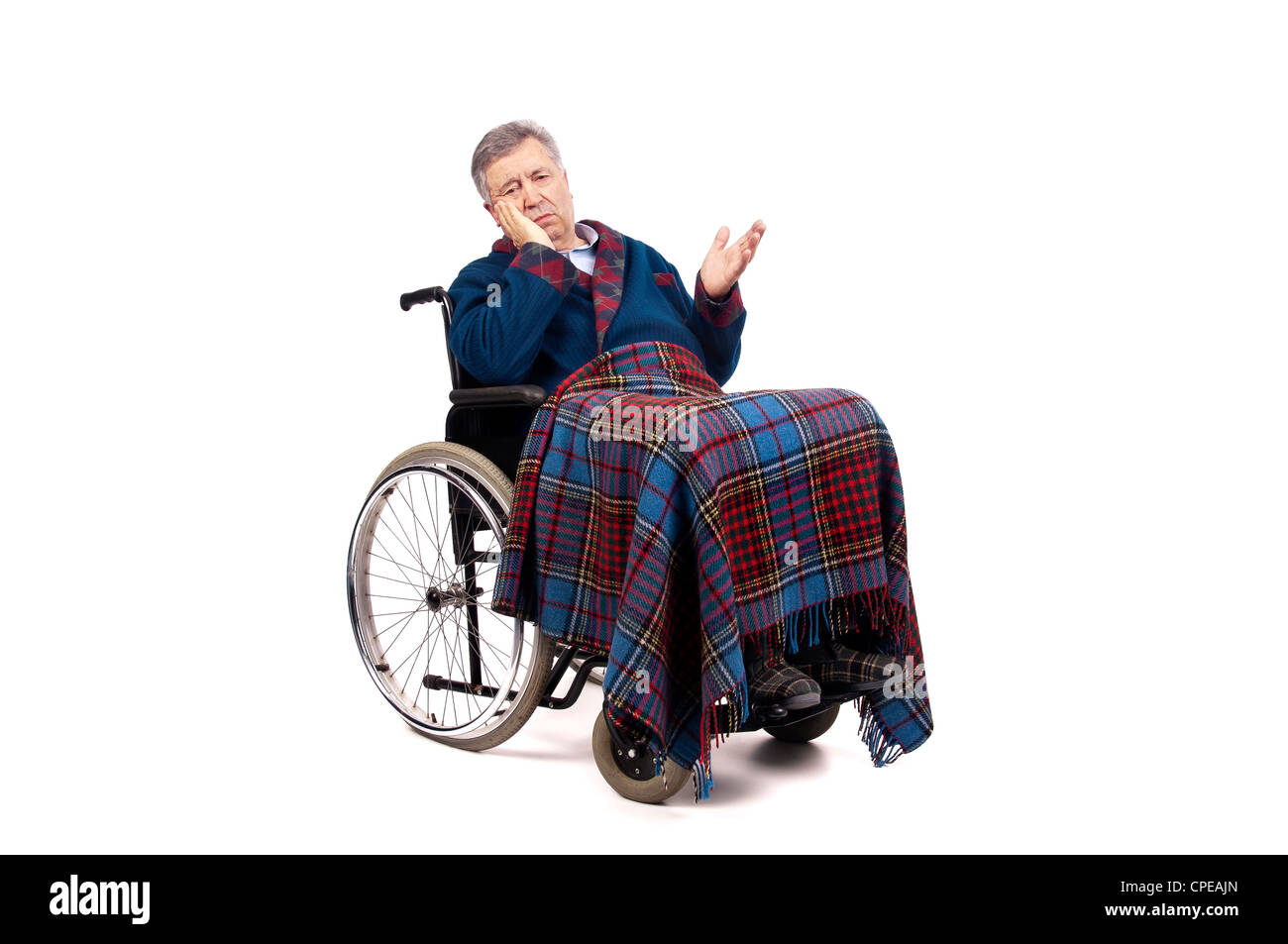 Lonely elderly in a wheelchair - Stock Image