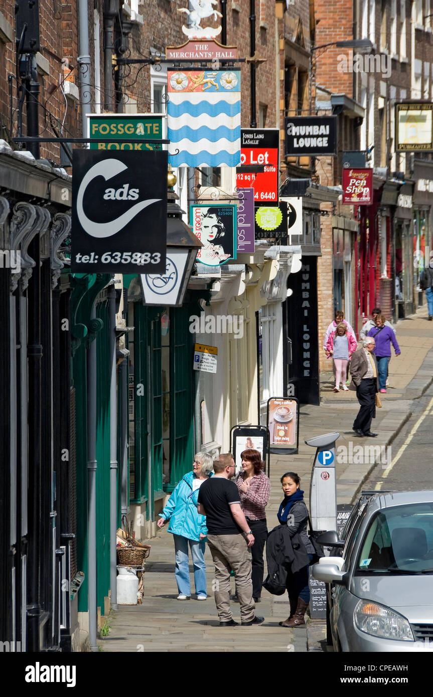 Shops in Fossgate York North Yorkshire England UK United Kingdom GB Great Britain - Stock Image