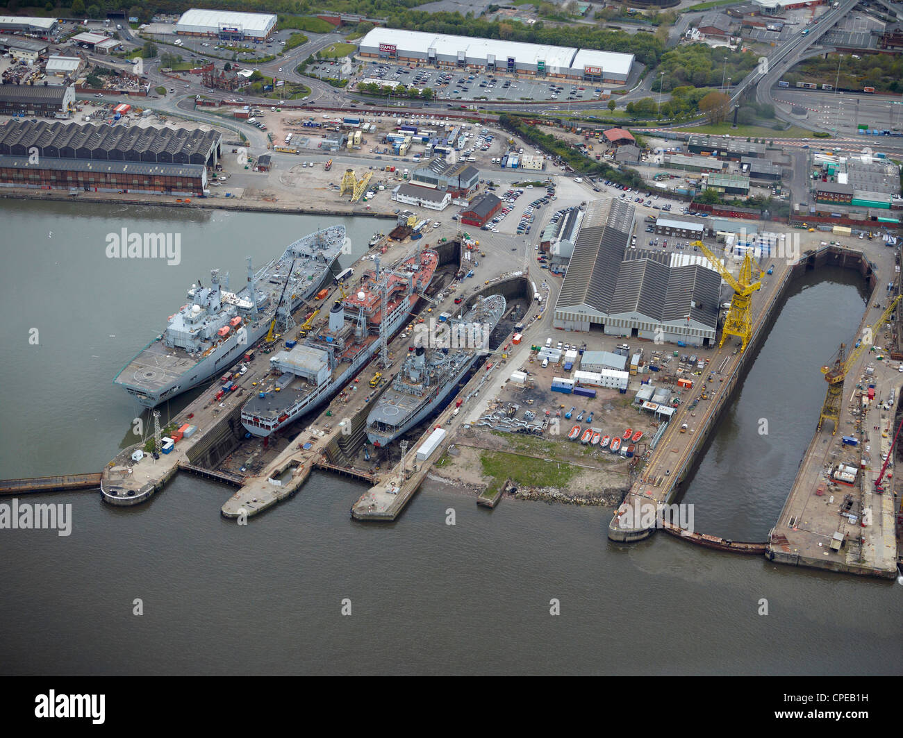 Cammell Lairds Shipyard, Birkenhead, Liverpool, North West England - Stock Image