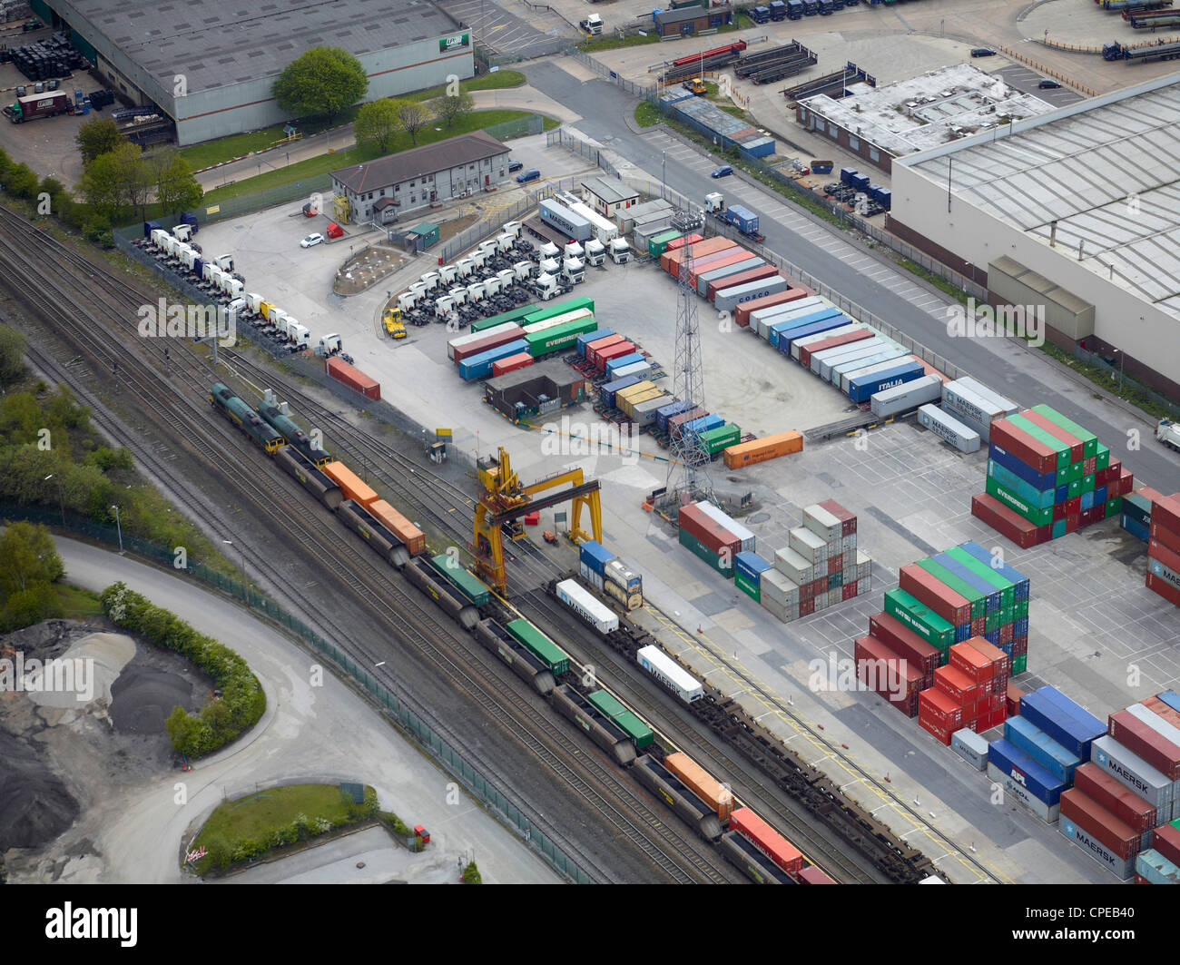 Aerial view of Leeds Freightliner Terminal, Leeds, West Yorkshire, Northern England - Stock Image