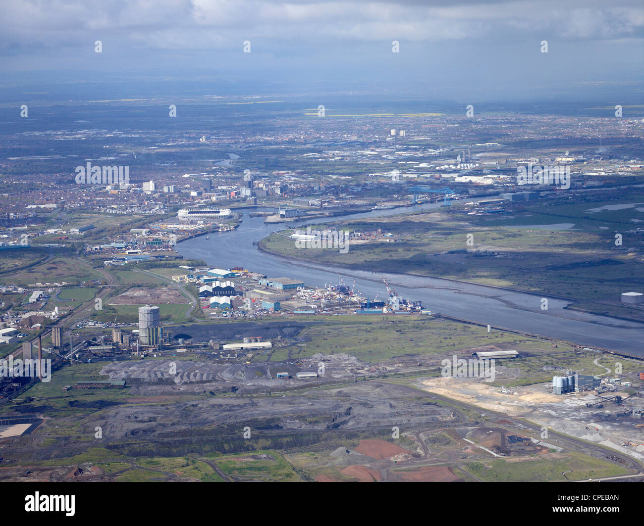 Teeside from the Air, North East England, May 2012 Stock Photo