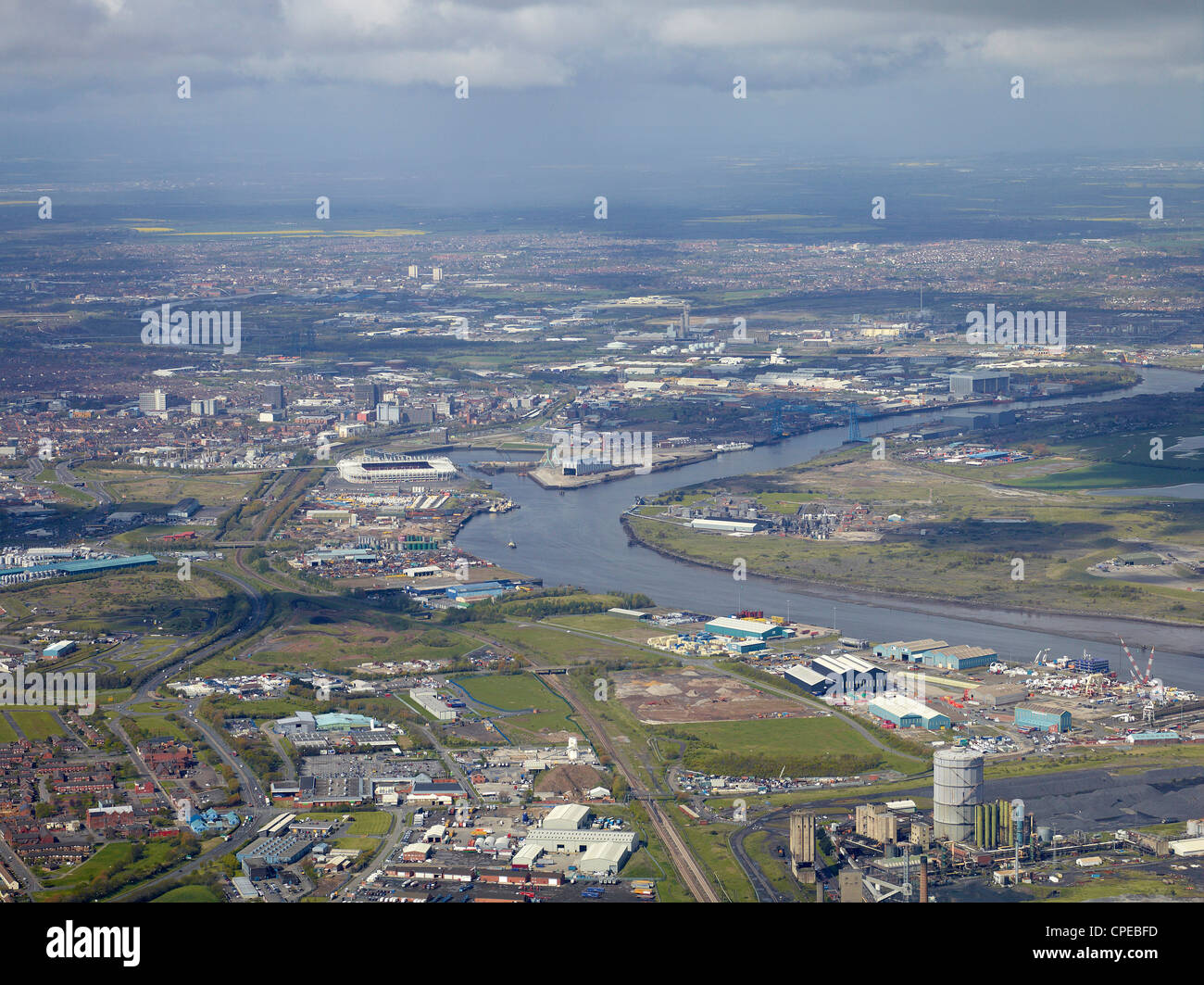 Middlesborough andTeeside from the Air, North East England, May 2012 - Stock Image