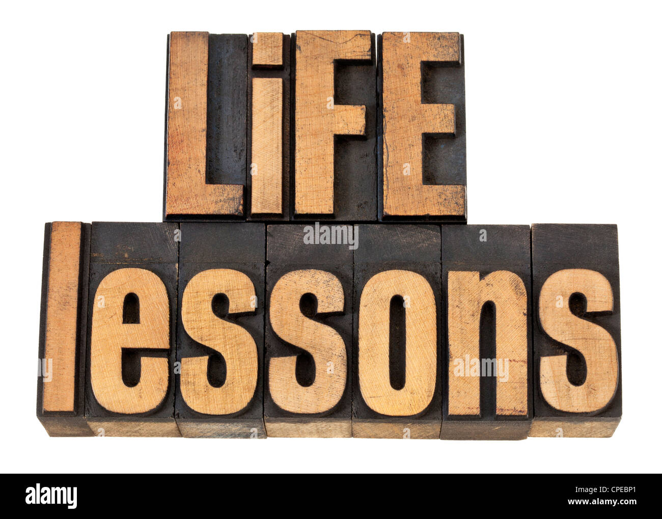 life lessons - experience concept - isolated text in vintage letterpress wood type - Stock Image