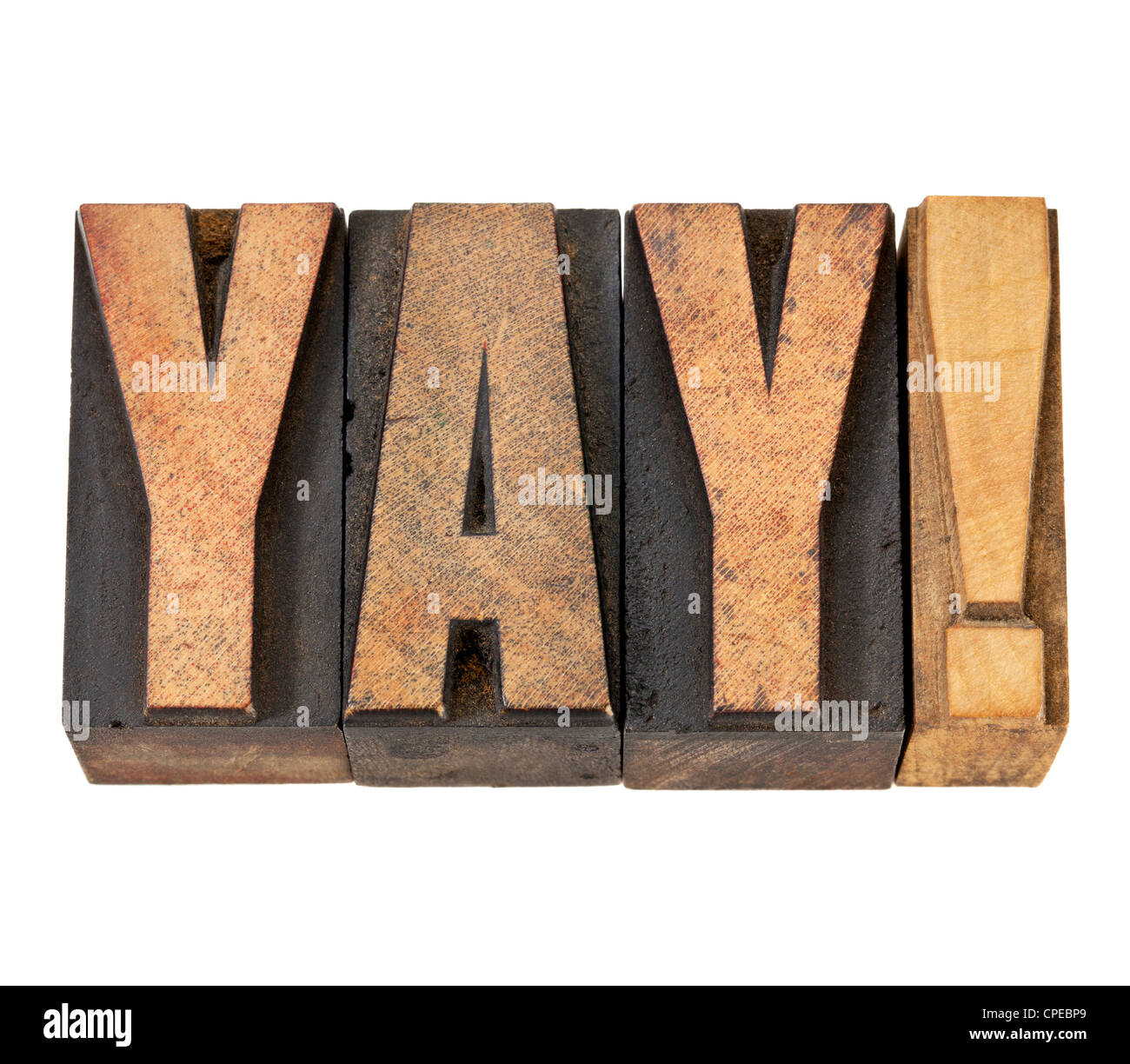 yay exclamation - approval, congratulation, or triumph concept -isolated text in vintage letterpress wood type - Stock Image