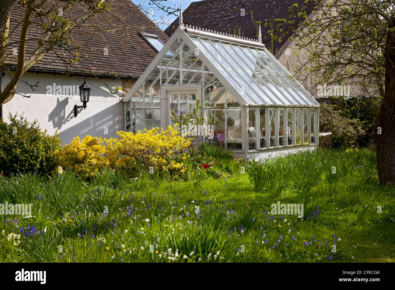 Traditionally made old style Victorian glass greenhouse in private garden - Stock Image