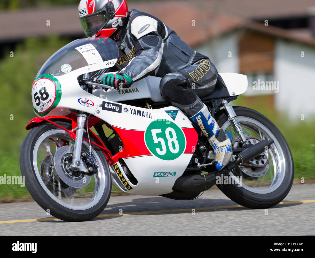 MUTSCHELLEN, SWITZERLAND-APRIL 29: Vintage motorbike Yamaha TD2 from 1970 on display at Grand Prix in Mutschellen, - Stock Image