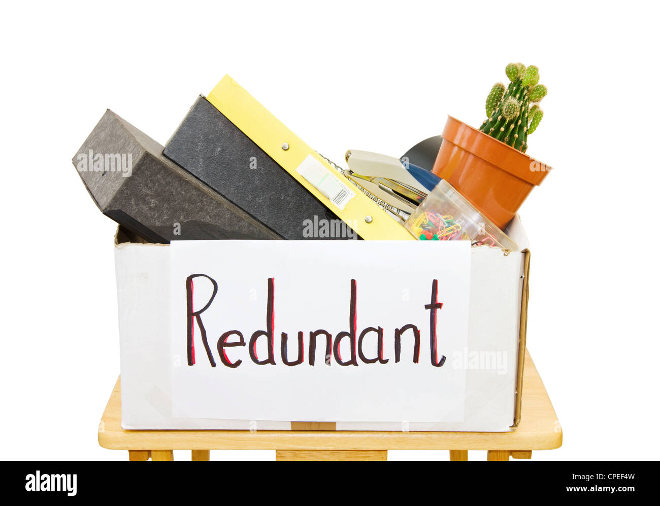 Made redundant at work as a result of the economic crisis. Isolated over white background. - Stock Image