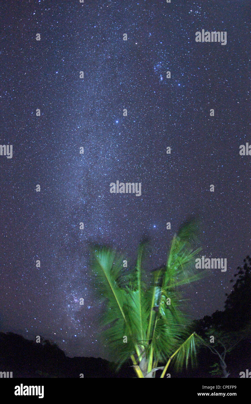 Milky way stars seen from Mogundula island in the Quirimbas archipelago in northern Mozambique. - Stock Image