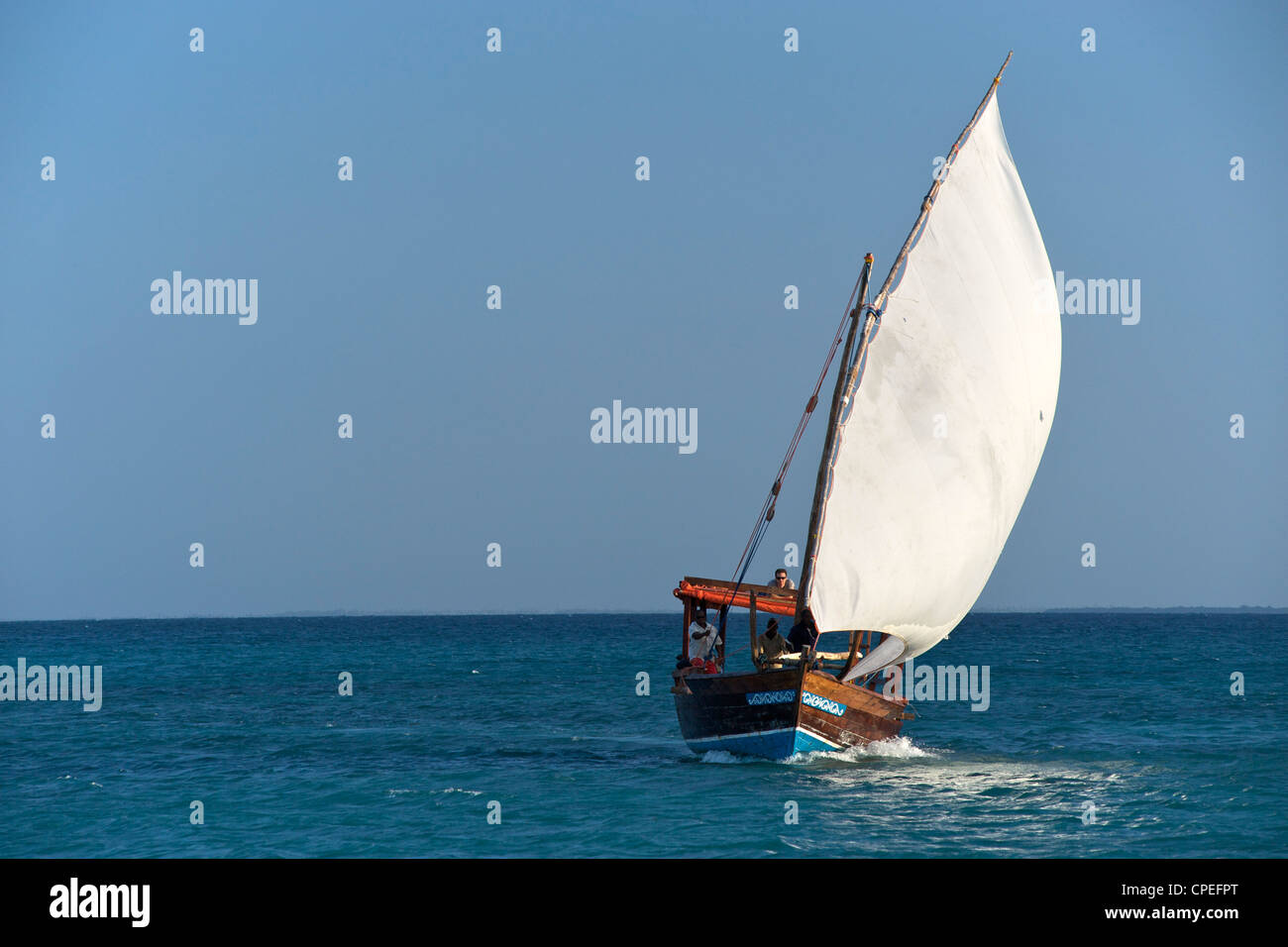 Dhow sailing in the Quirimbas archipelago off the coast of northern Mozambique. - Stock Image