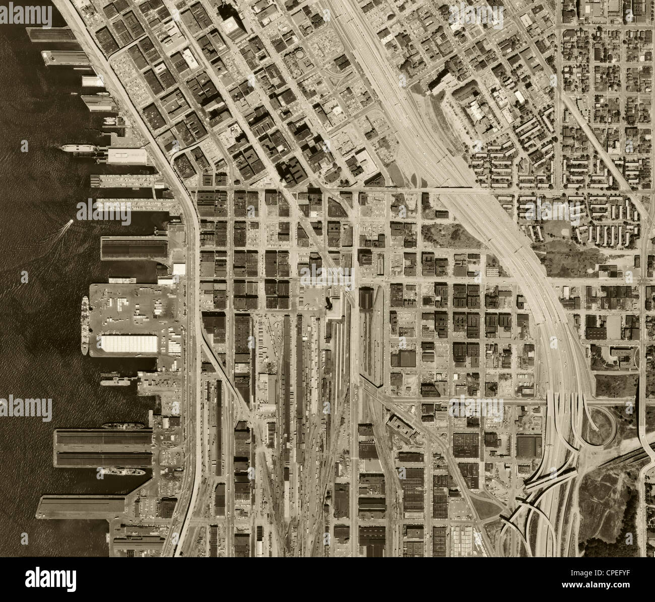 historical aerial photograph Seattle, Washington 1969 - Stock Image