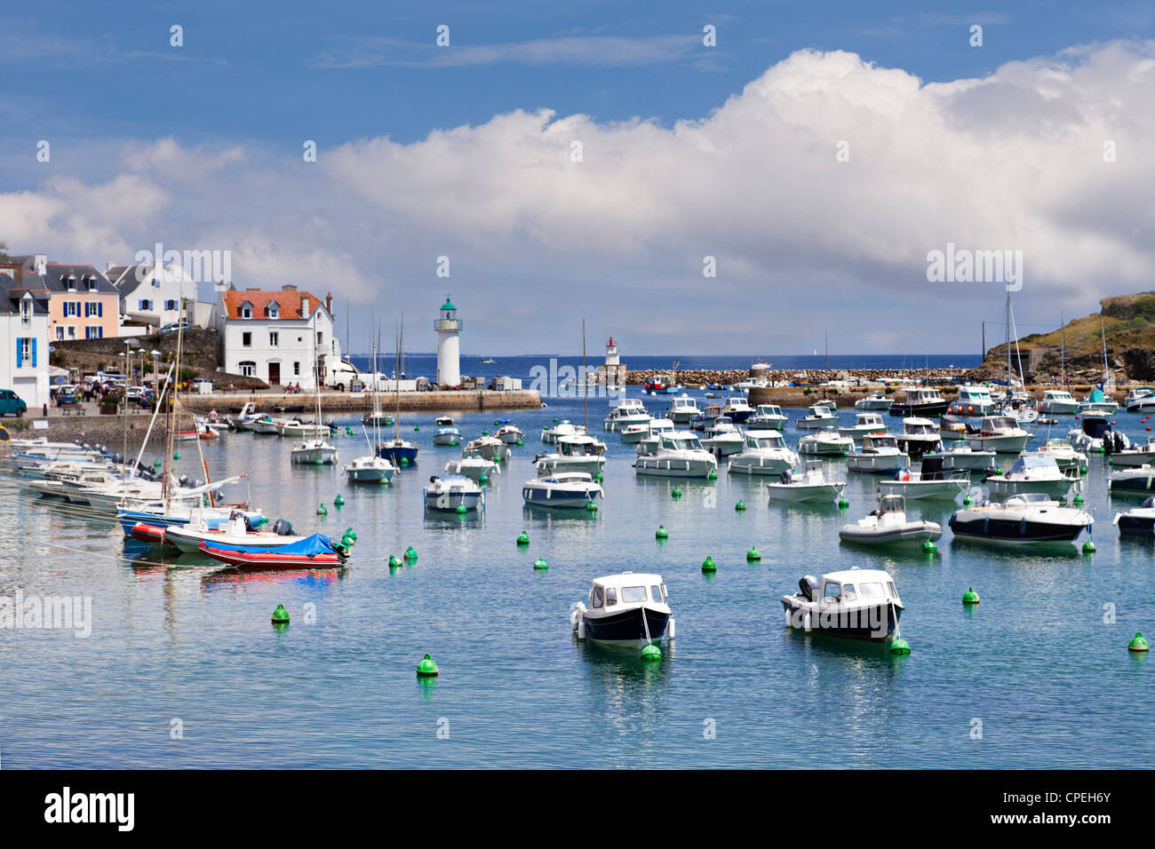 The small harbour at Sauzon, Belle-Ile, Brittany, France, on a bright summer day. - Stock Image