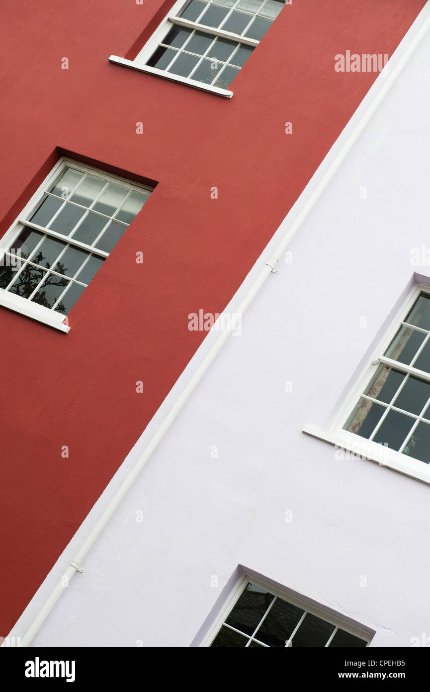 Painted Town houses abstract. Totnes, Devon, England - Stock Image