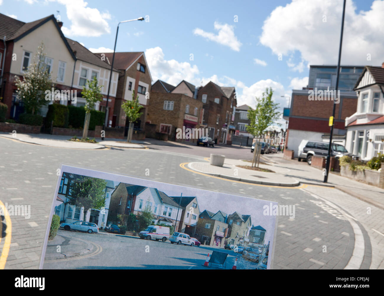 New traffic calming scheme by Sustrans and Haringey Council in Turnpike Lane area of North London - inset shows - Stock Image