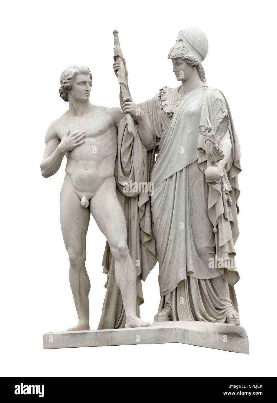 Berlin, Germany. Statue on Schlossbrucke depicting the development of the hero. Athene arms the warrior for his - Stock Image