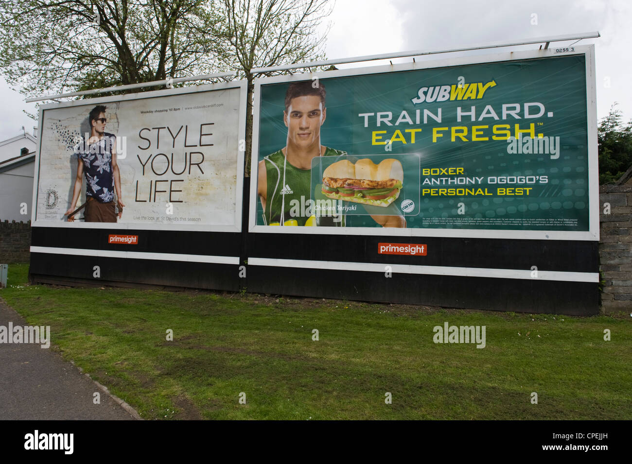 primesight billboard advertising site in Merthyr Tydfil South Wales UK for St David's shopping centre Cardiff - Stock Image
