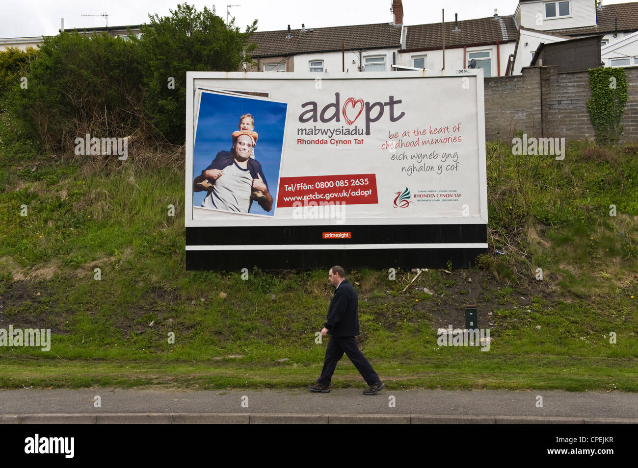 primesight billboard site in Merthyr Tydfil South Wales UK for adoption services by Rhondda Cynon Taf Council - Stock Image