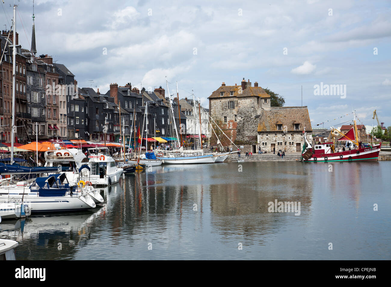 The Lieutenance at the Vieux Bassin (Old Dock), Honfeluer, Normandy, France Stock Photo