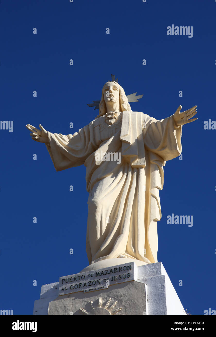 Jesus Christus Statue in Puerto de Mazarron, Spain - Stock Image