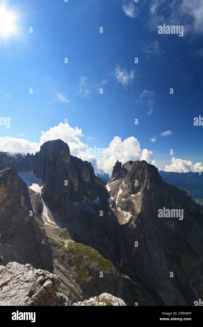 Pale di San Martino Dolomites against the sun, Trentino Italy Stock Photo