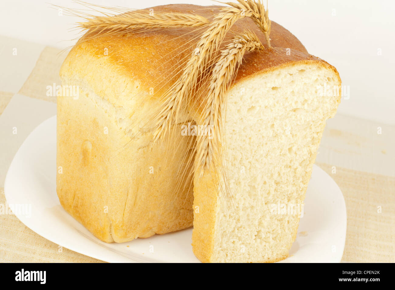 Bread baking tin home with ears closeup - Stock Image
