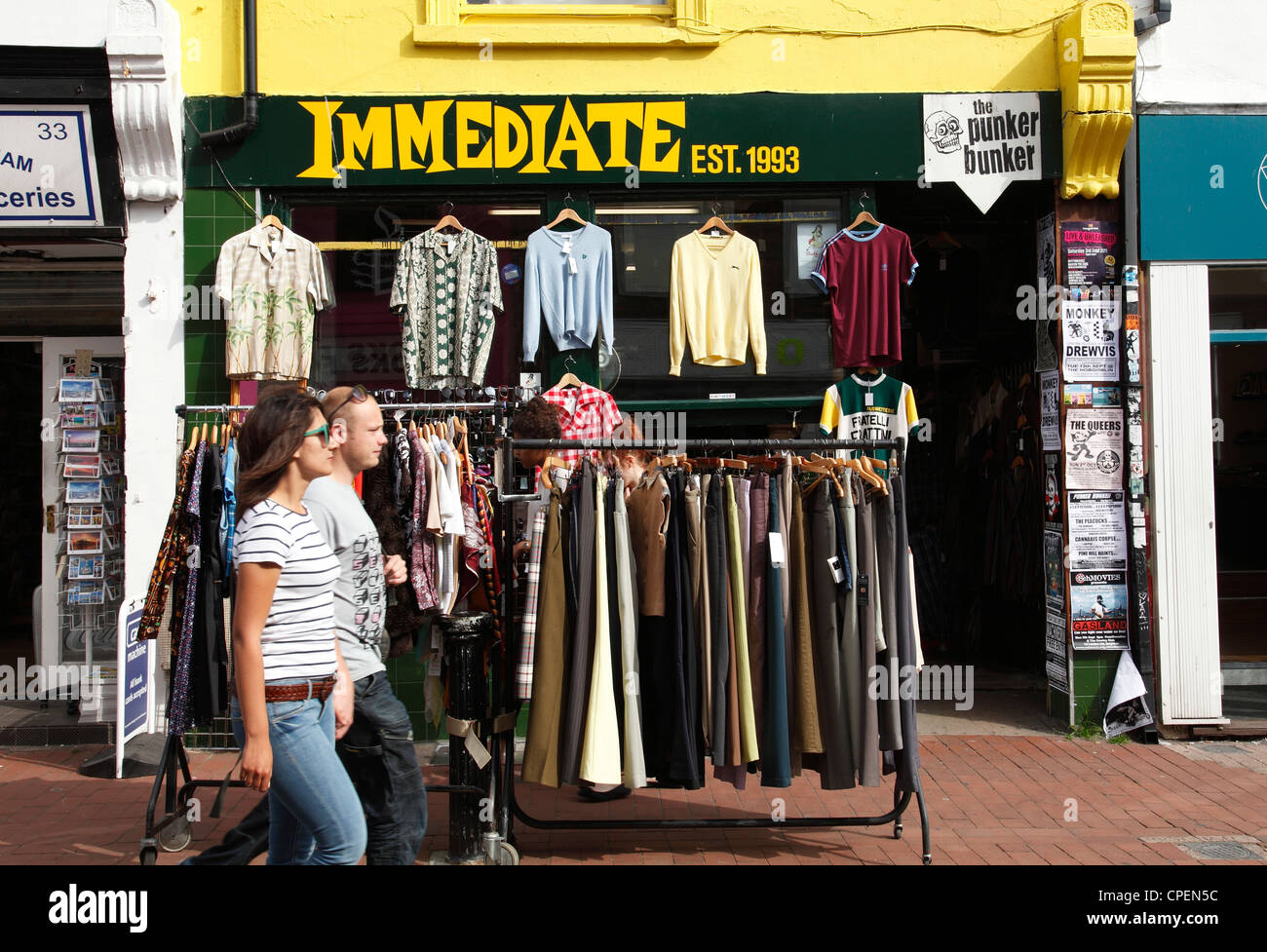 The Immediate clothing shop selling secondhand clothes in Brighton, England, U.K. - Stock Image