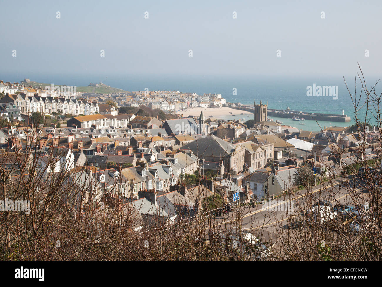 View down onto St Ives and the harbour, Cornwall, England, UK in late winter - Stock Image