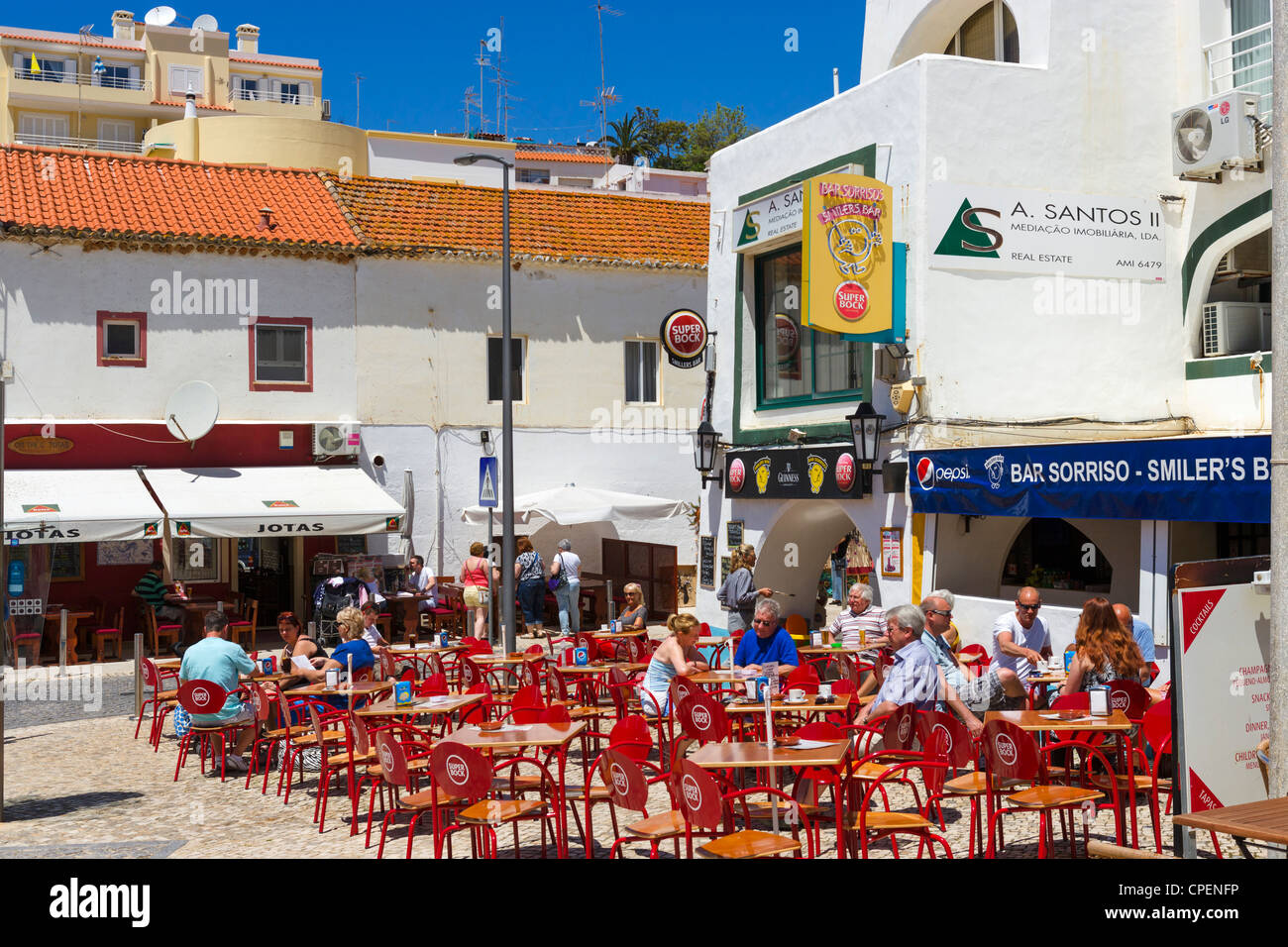 Cafe in the resort centre, Carvoeiro, Algarve, Portugal Stock Photo