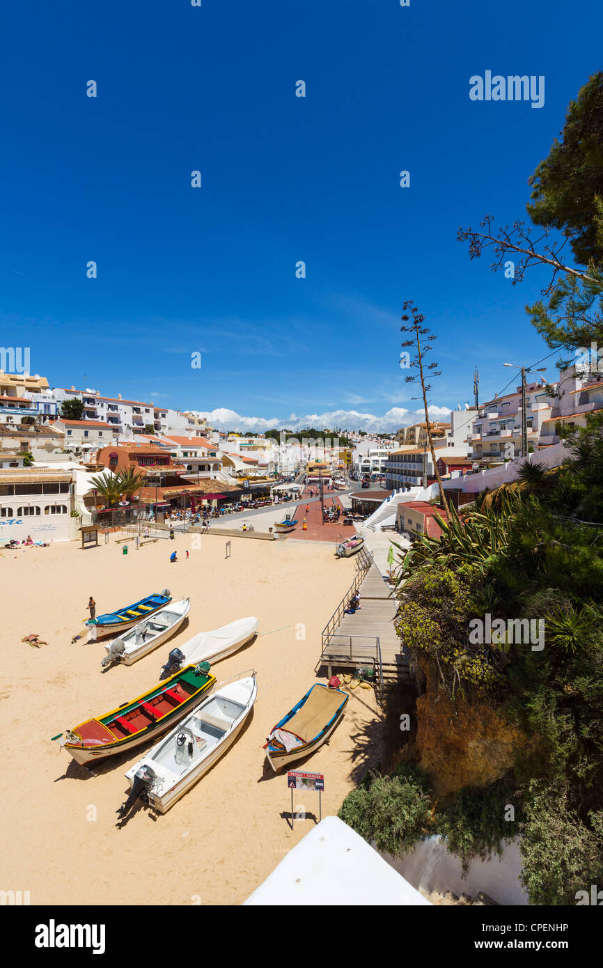 View over the resort centre and beach in Carvoeiro, Algarve, Portugal Stock Photo