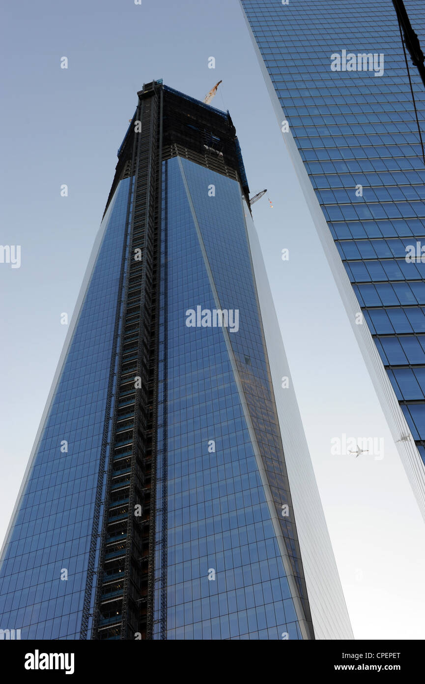 Construction of the One World Trade Center 1WTC, New York - Stock Image