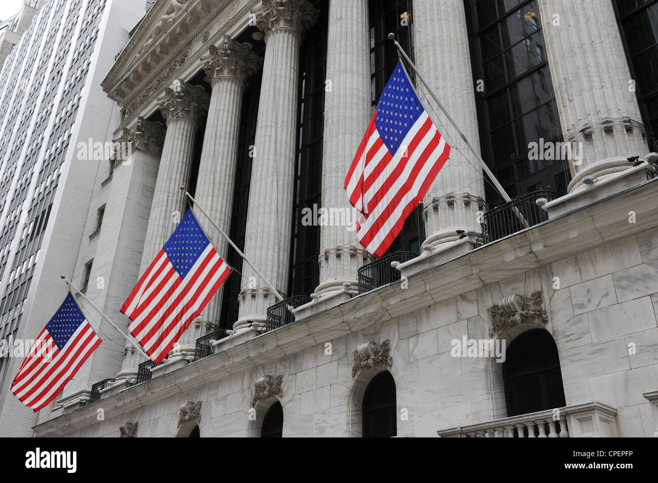 American Flags on the New York Stock Exchange - Stock Image