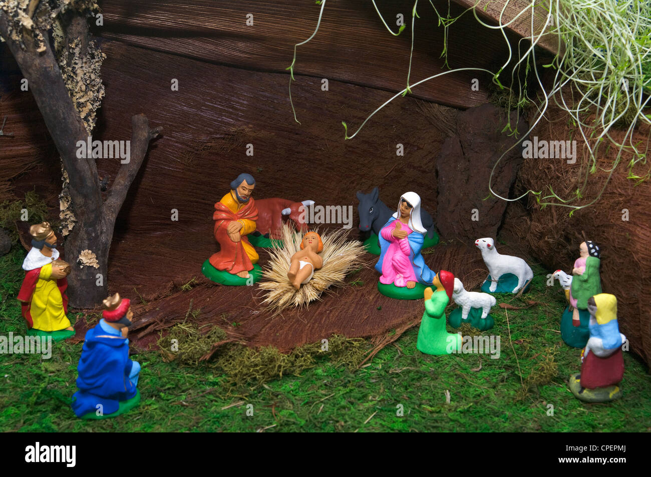 Azores traditional Christmas crib made with clay figures - Stock Image