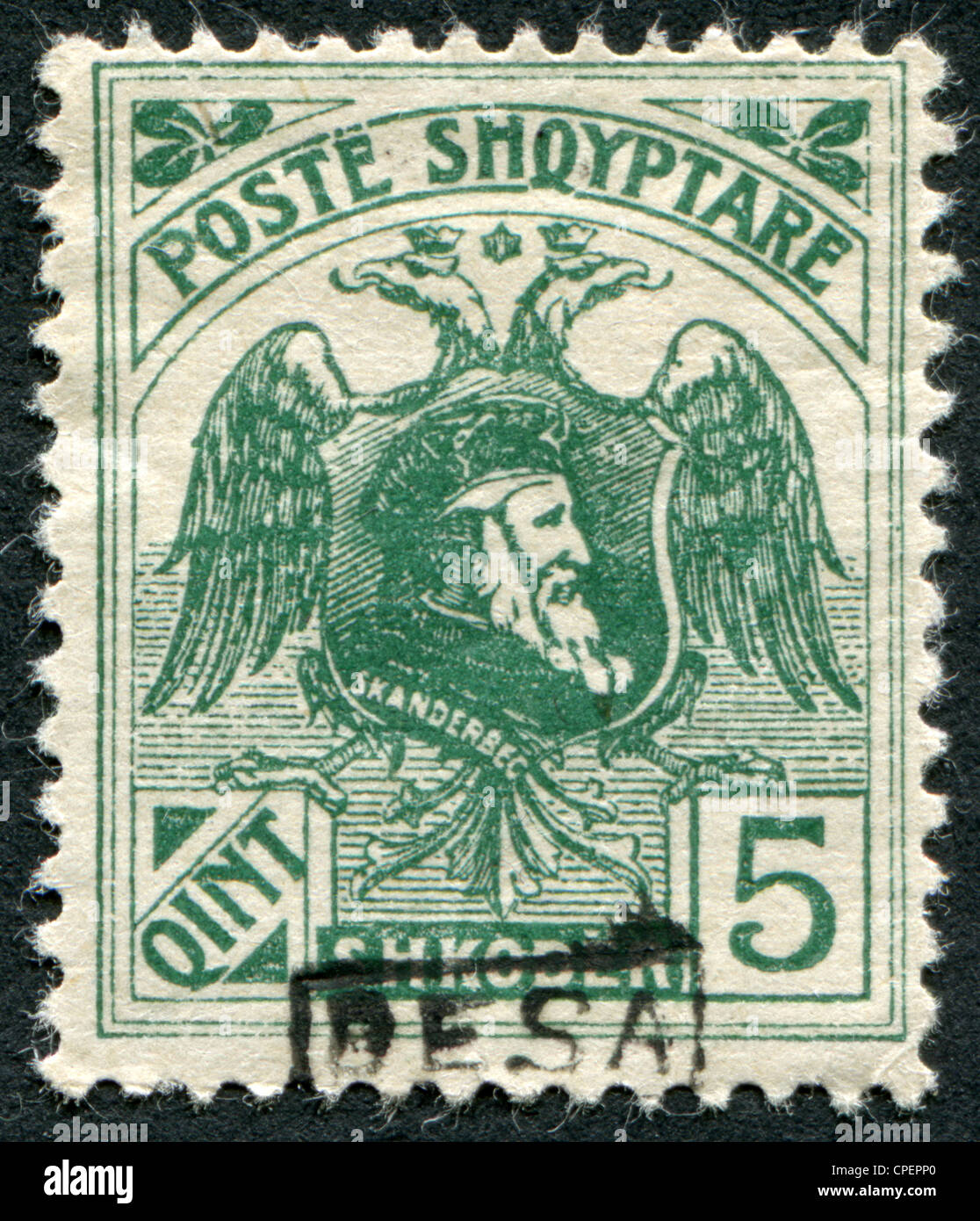 Depicts an eagle bicapital and ruler of Albania, George Kastrioti Skanderbeg, (overprint BESA), circa 1922 Stock Photo