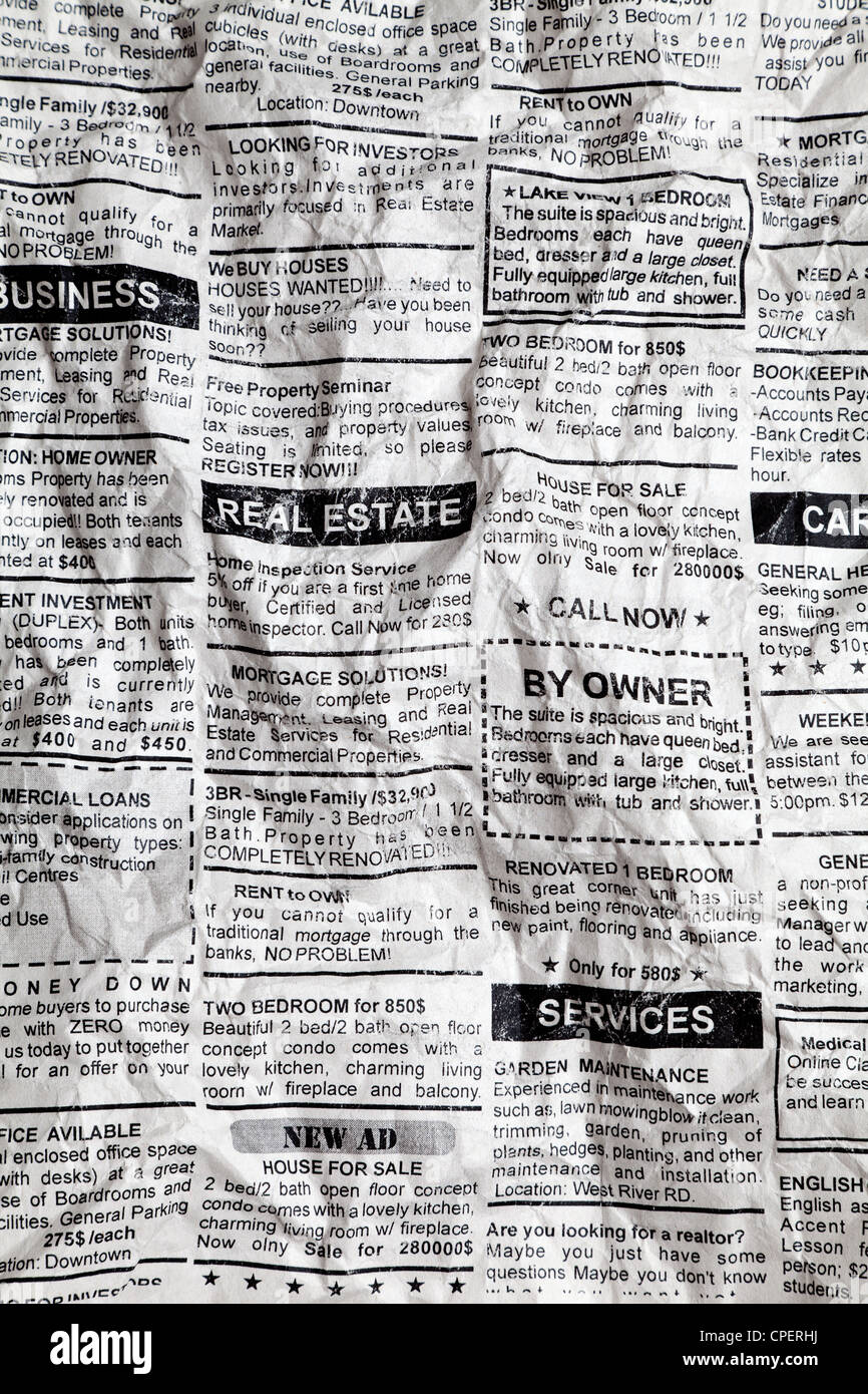 Fake Classified Ad, Crumpled; Newspaper, business concept. - Stock Image