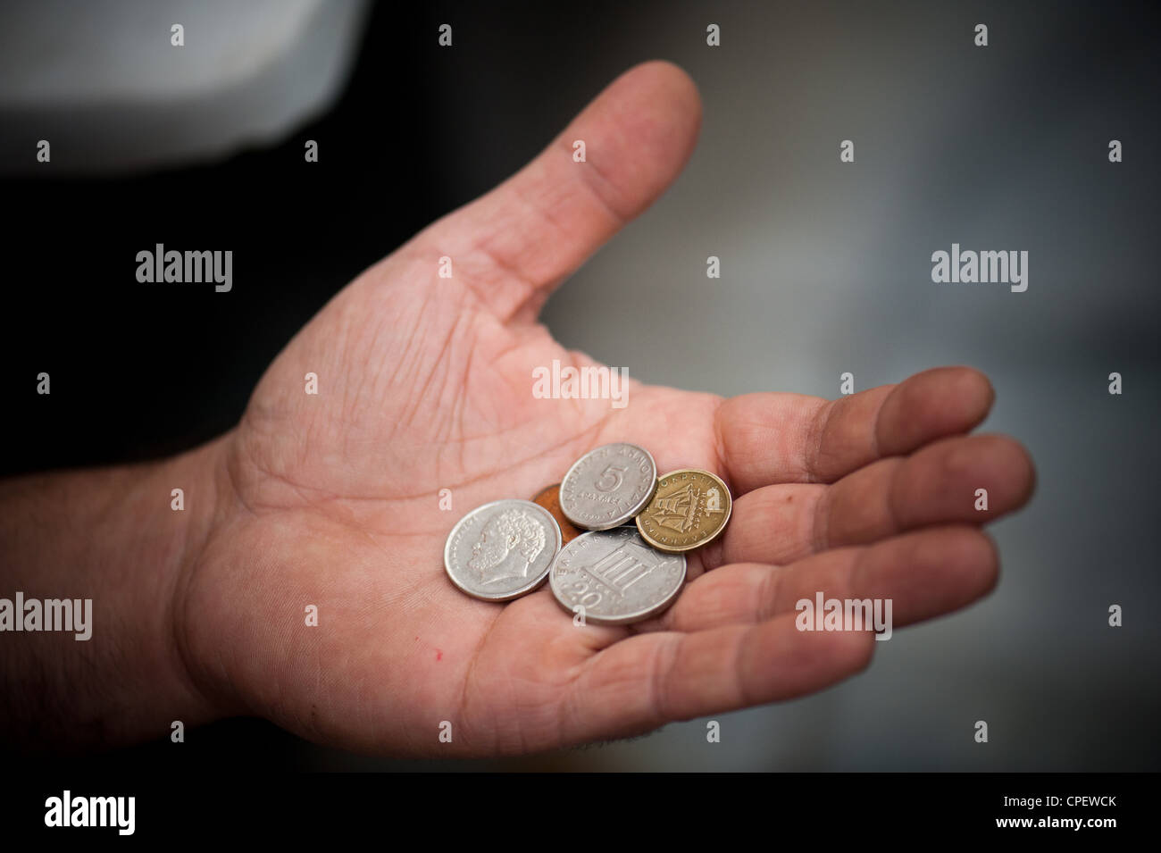 Old drachma cooing replaced in 2002 by the euro - Stock Image