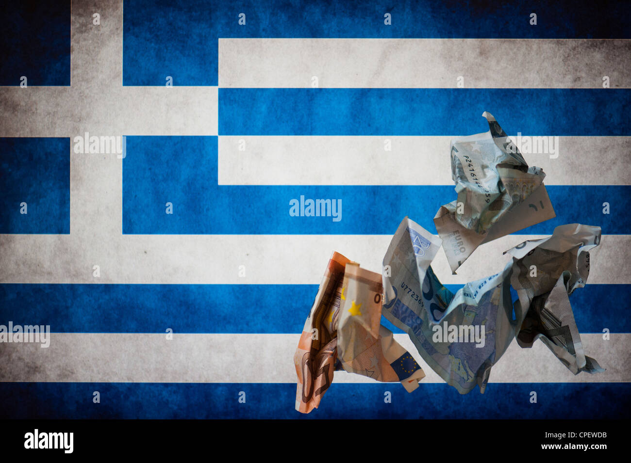 Wrinkled euro notes(50, 20, 5) in front of the Greek flag - Stock Image