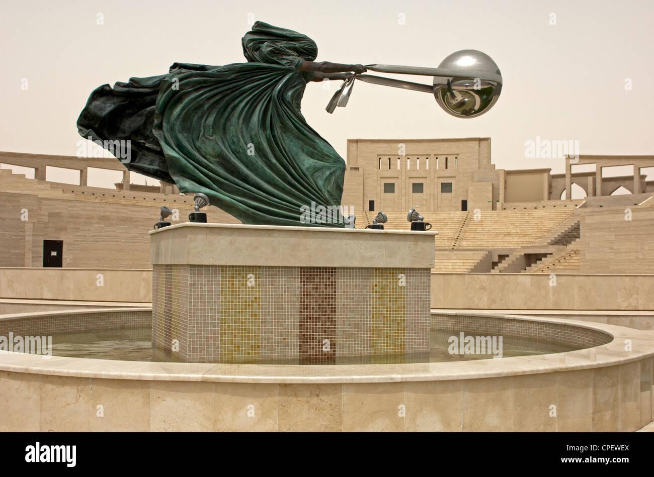 Sculpture Force of Nature by Lorenzo Quinn, Katara Cultural Village, Doha, Qatar - Stock Image
