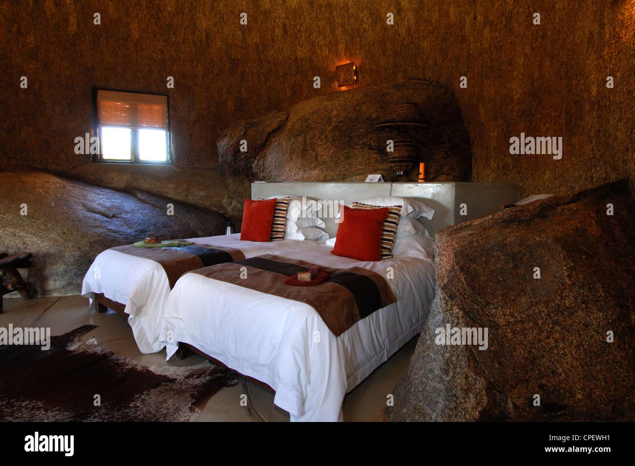 Interior of a Namakwa Mountain Suite, Naries Namakwa Retreat, Naries, South Africa - Stock Image