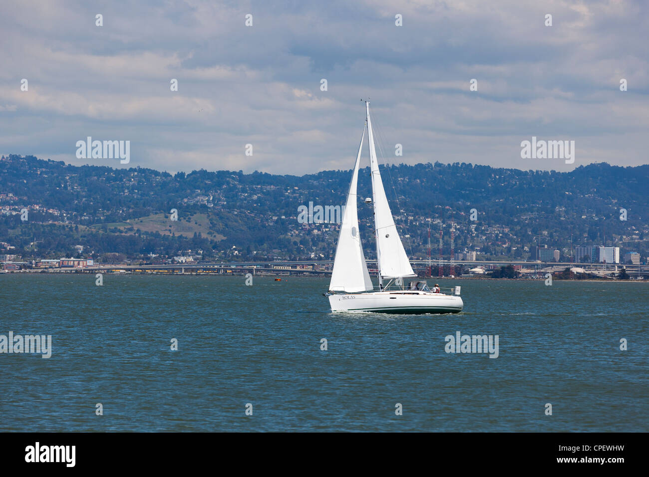 Sailboat in San Francisco bay - Stock Image